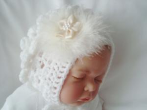 baby girl white bonnet hat white swans down swirl cream satin flower