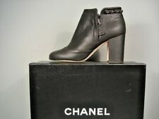 CHANEL BLACK LEATHER BOOTIE SHORT ANKLE BOOTS STACKED HEEL WOVEN CHAIN 36 NEW