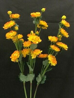 "orange Ranunculus Flower Spray Stems~Set of 3~Talisman ~Silk//Artificial~34/"" T"