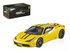 FERRARI 458 ITALIA SPECIALE ELITE EDITION YELLOW 1/43 MODEL CAR HOTWHEELS BLY46