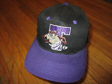 vtg 90s TASMANIAN DEVIL HAT Black Purple Snapback Embroidered Tornado Taz T OS