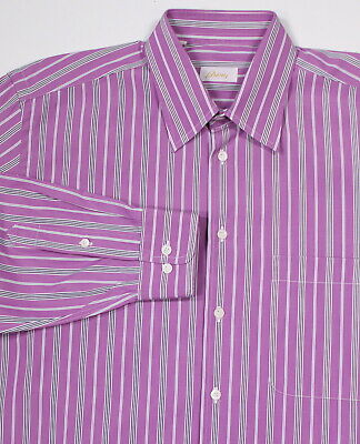 BRIONI Purple Striped Cotton Dress Shirt~ Large | eBay