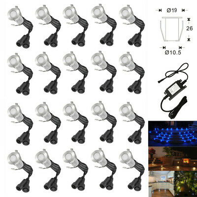 1//6//10//20 x 19mm LED Round Garden Decking Deck Plinth Lights Lighting Kit IP67