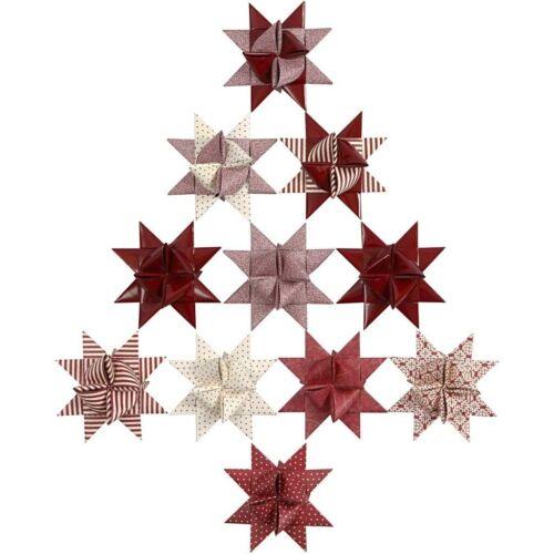 40 Papierstreifen für Fröbelsterne Rot Glitter und Lack