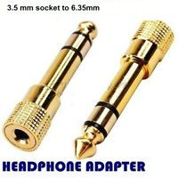 Headphone Adapter GOLD PLATED 3.5mm Socket to 6.35mm Jack Plug Audio convertor