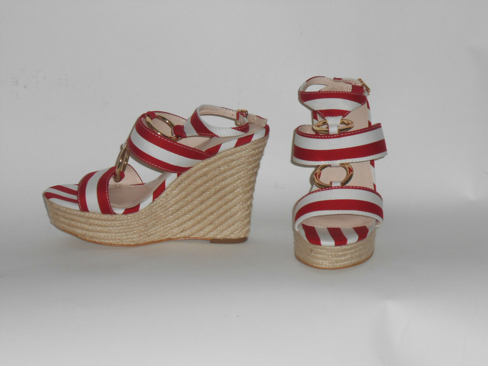 VS STRIPED FABRIC WEDGE SANDAL