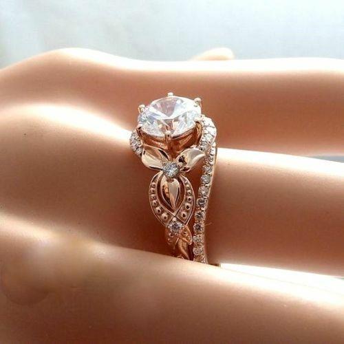 Round Diamond Vintage Bridal Set Unique Engagement Rings Real 10k pink gold