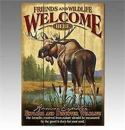 American Expedition wood MOOSE welcome sign