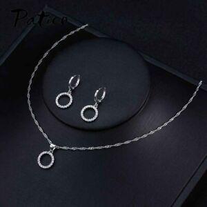 Damen-Schmuckset-925-Silber-Halskette-Ohrringe-Ohrstecker-Ohrschmuck-Kette-NEU