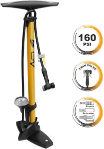 Best Bicycle Ergonomic Bike Floor Pump-Gauge-Smart Valve Head,160Psi-HEAVY-DUTY