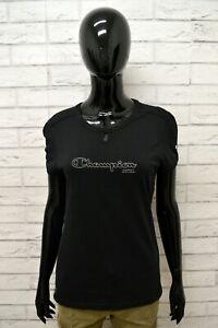 Maglia-CHAMPION-Donna-Taglia-L-Maglietta-Shirt-Woman-Manica-Corta-Slim-Fit-Nero