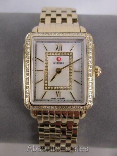 Michele Deco II Mid Yellow Gold & Diamond Watch MWW06I000007 Refurbished NIB Box