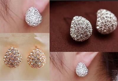 Rertro Womens Silver Gold Plated Clear Crystal Rhinestone Ear Stud Earrings Gift