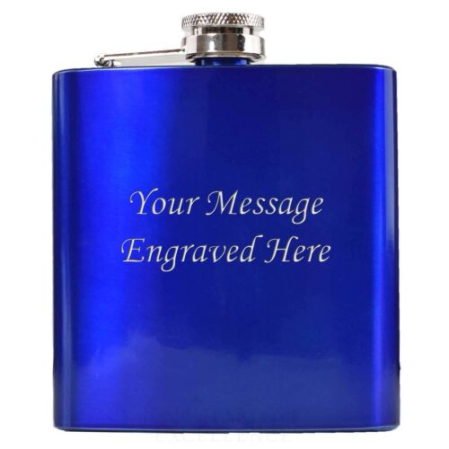 Engraved 6oz Gold Red Blue Coloured Hip Flask Personalised FREE  Ladies Mens