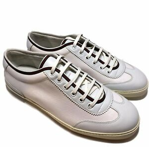 NEW-GUCCI-MEN-039-S-WHITE-COATED-CANVAS-SNEAKERS-WITH-TRIM-7-5-G-625