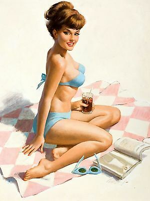METAL VINTAGE RETRO PIN UP ART FRAHM TIN SIGN WALL PLAQUE FRIDGE MAGNET
