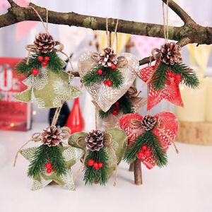 Fj-Cn-Wo-3X-Artificiale-Natale-Agrifoglio-Pigna-Stella-Cuore-Ornamento-Festa
