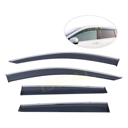 4pcs Smoke Tint w// Chrome Trim Vent Shade Window Visor Fit 17-19 Honda CRV CR-V
