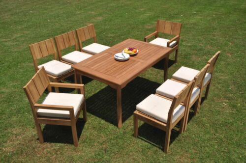 """9pc Grade-A Teak Dining Set 60"""" Rectangle Table Veranda Chair Outdoor Patio 9780919946859"""