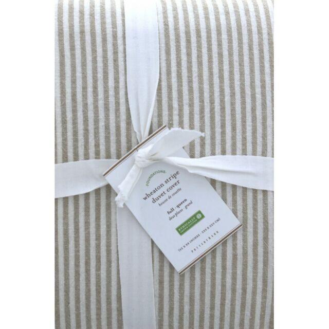 Pottery Barn Set of 2 Evan Stripe Standard Pillow Shams NEW Linen Cotton Gray