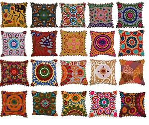 Ethnic-Suzani-Cushion-Cover-16x16-Vintage-Embroidered-Cottonm-Throw-Pillow-Cases