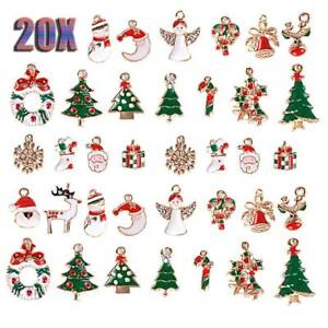 Lotti-20x-misti-smalto-Natale-Charms-Ciondolo-Fai-da-Te-Collana-Gioielli-Making-Craft