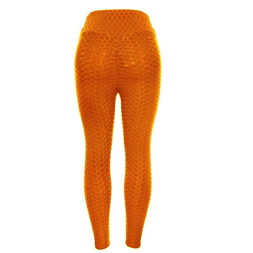 Women Ruched Push Up Leggings Yoga Pants Sports Fluorescence Running Trousers