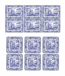 SET OF 6 CLASSIC BLUE ITALIAN FLORAL BLUE WHITE CORK BACKED PLACEMATS & COASTERS