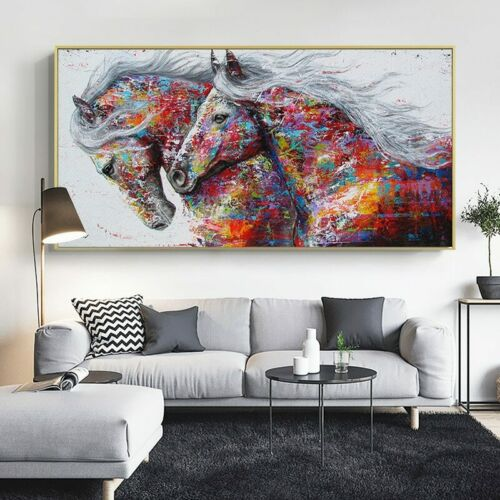 Animal Art Two Running Horses Canvas Painting Wall Art Pictures For Living Room