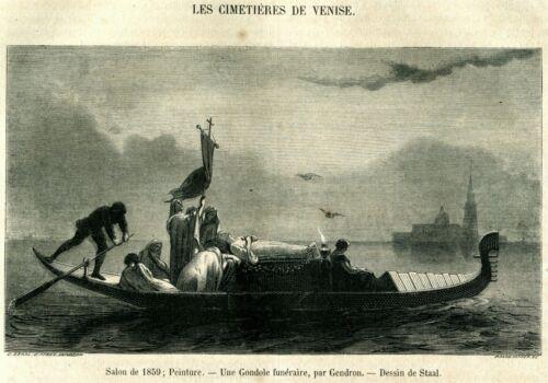 VENEZIA Funerale in Laguna con Gondola.Storia del Costume.Lombardo-Veneto.1859