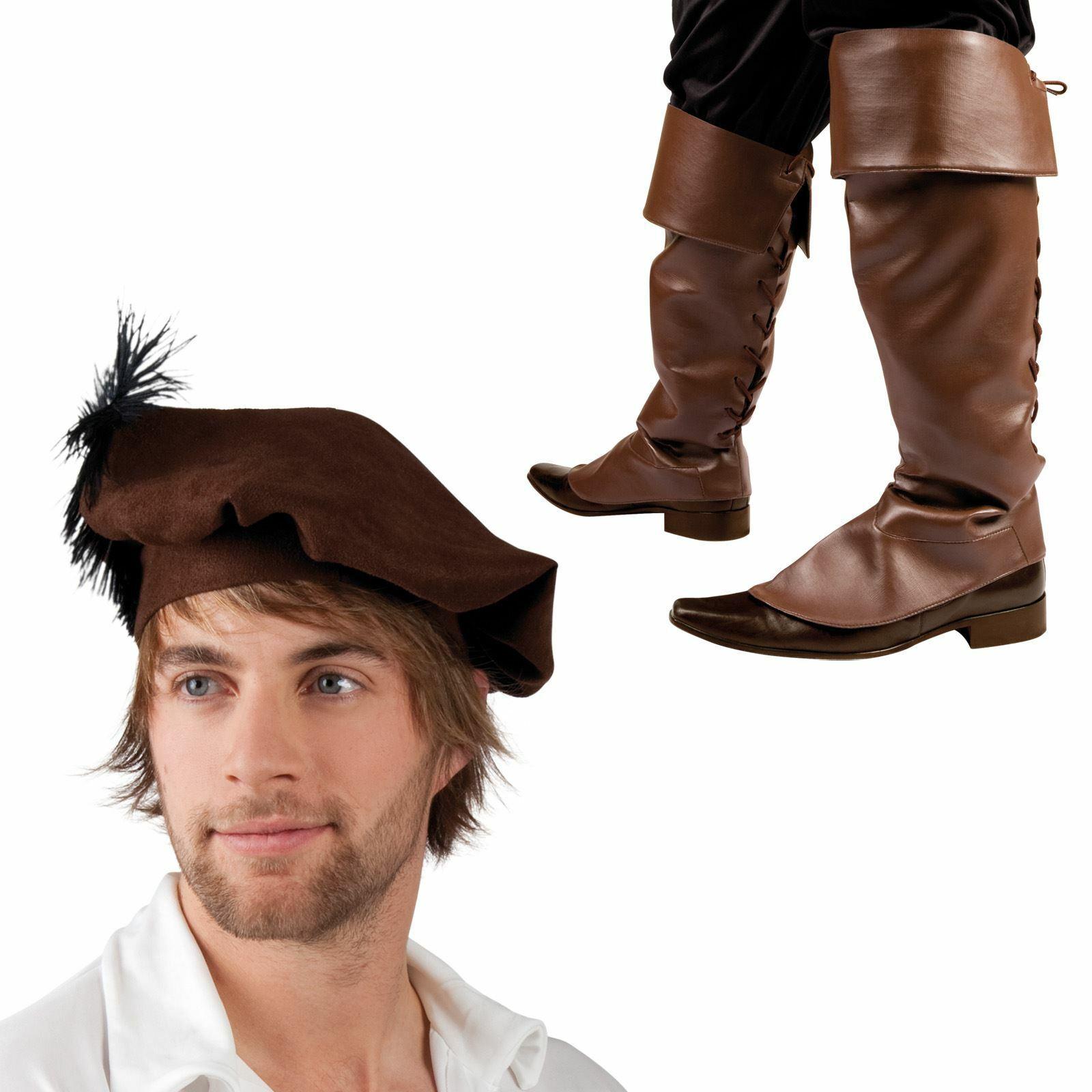 Mens Medieval Renaissance Tudor Brown Fancy Dress Boot Tops Beret Hat Feather