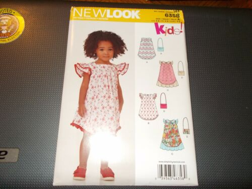 New Look Pattern 6358 Girls Dress//Sun Dress w//Sleeve~Ruffle Varis /& Purse Sz 3-8
