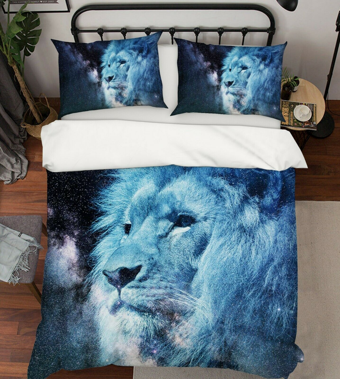 3D Lion Starry Sky R104 Animal Bed Pillowcases Quilt Duvet Cover Queen King Zoe