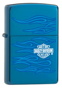Zippo Harley Davidson Ghost Lighter, Sapphire Blue With Logo # 20711, New In Box
