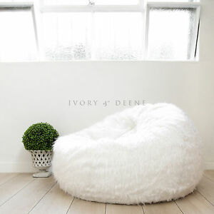 Image Is Loading FUR BEANBAG Cover Soft White Bedroom Luxury Polo