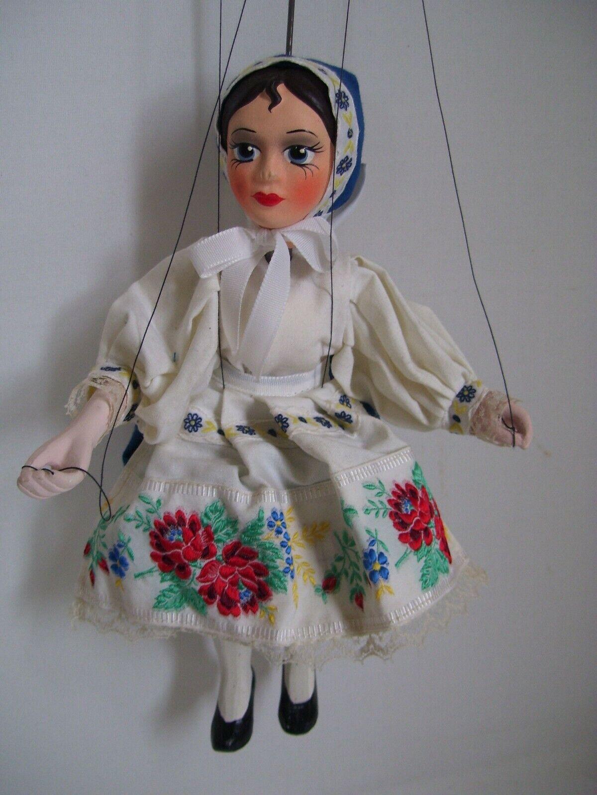 Raro noruego Hembra marioneta de madera y cerámica Juguete Marioneta de Noruega Perfecto Estado
