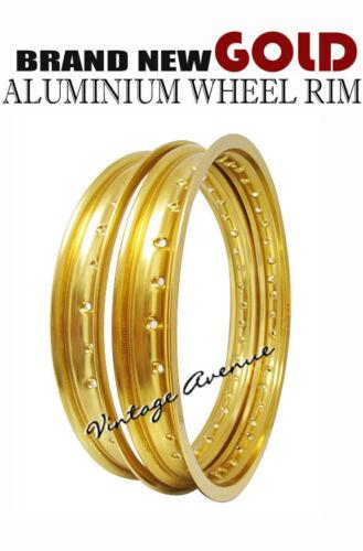 "GOLD YAMAHA YZ250 C//D//E//F /'76 77 78 /'79 ALUMINIUM WHEEL RIM FRONT 21/"" REAR 18/"""