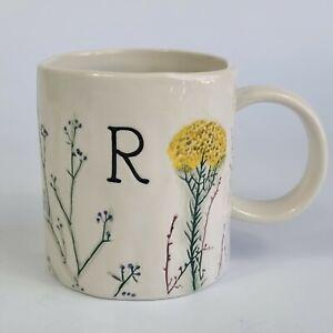 "Anthropologie Dagny Letter ""R"" Monogram Mug Botanical Floral"