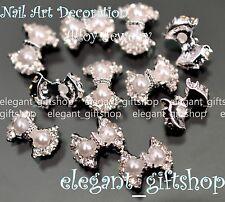 #EA101 3D Nail Art Tips Decoration White Pearl Bow Knot Glitter Rhinestones
