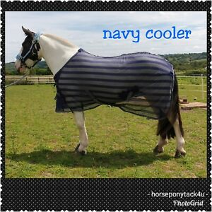 Details About Stunning Anti Sweat Mesh Cooler Travel Rug Horse Or Pony In Fine Navy