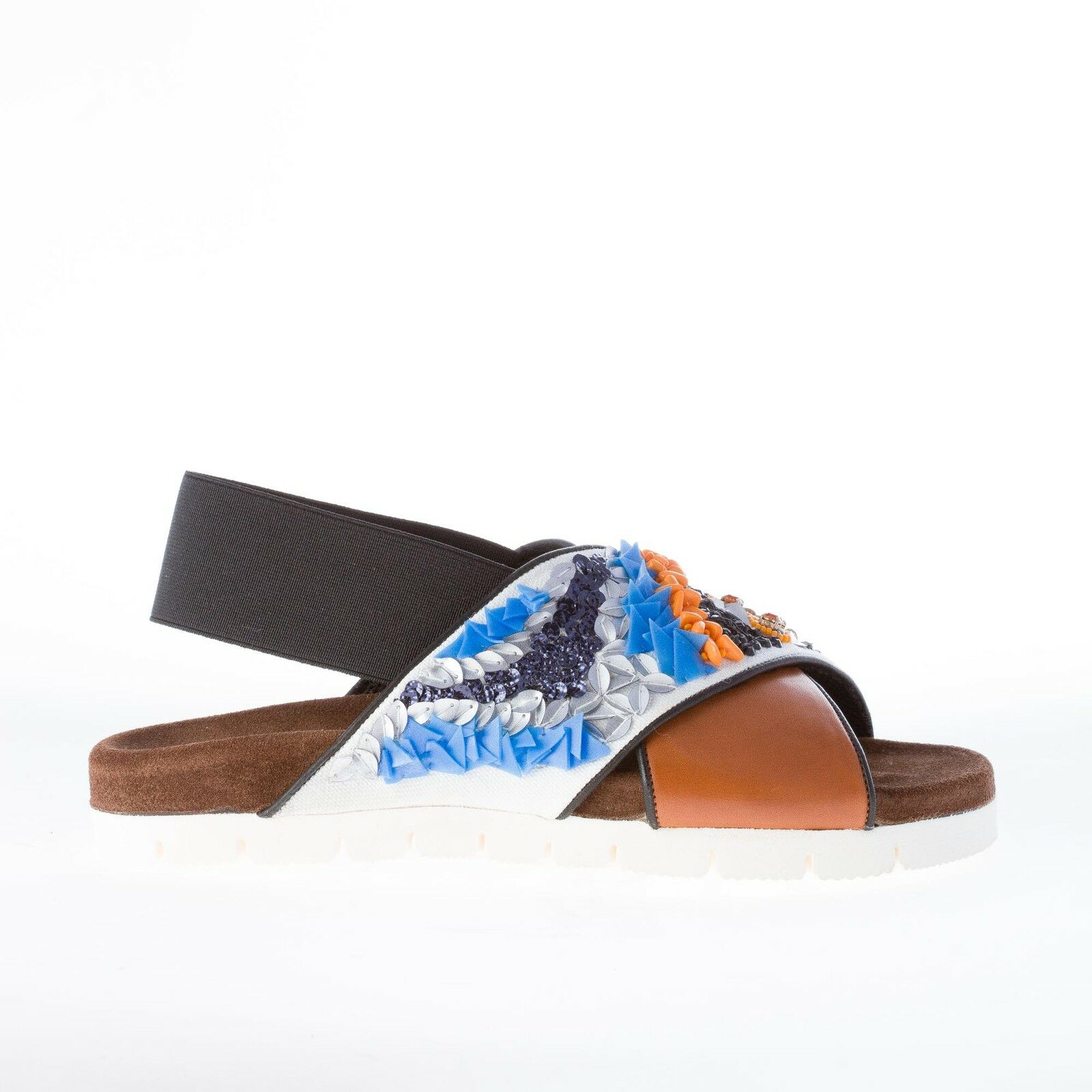 MSGM Chaussures Femmes marron leather with noir and blanc Fabric crisscross sandal