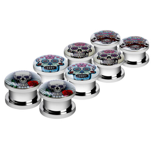 Details about  /4Pairs Stainless Steel Ear Gauges skull Screw Plugs Tunnels Expanders Stretcher