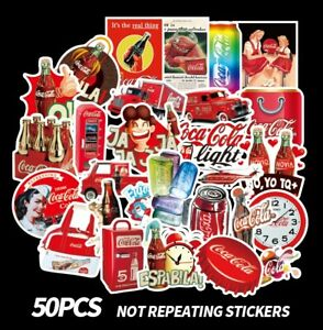 50 pcs Coca Cola Vinyl Decal Stickers for Skateboard/Luggage/Laptop/Book/Bottle