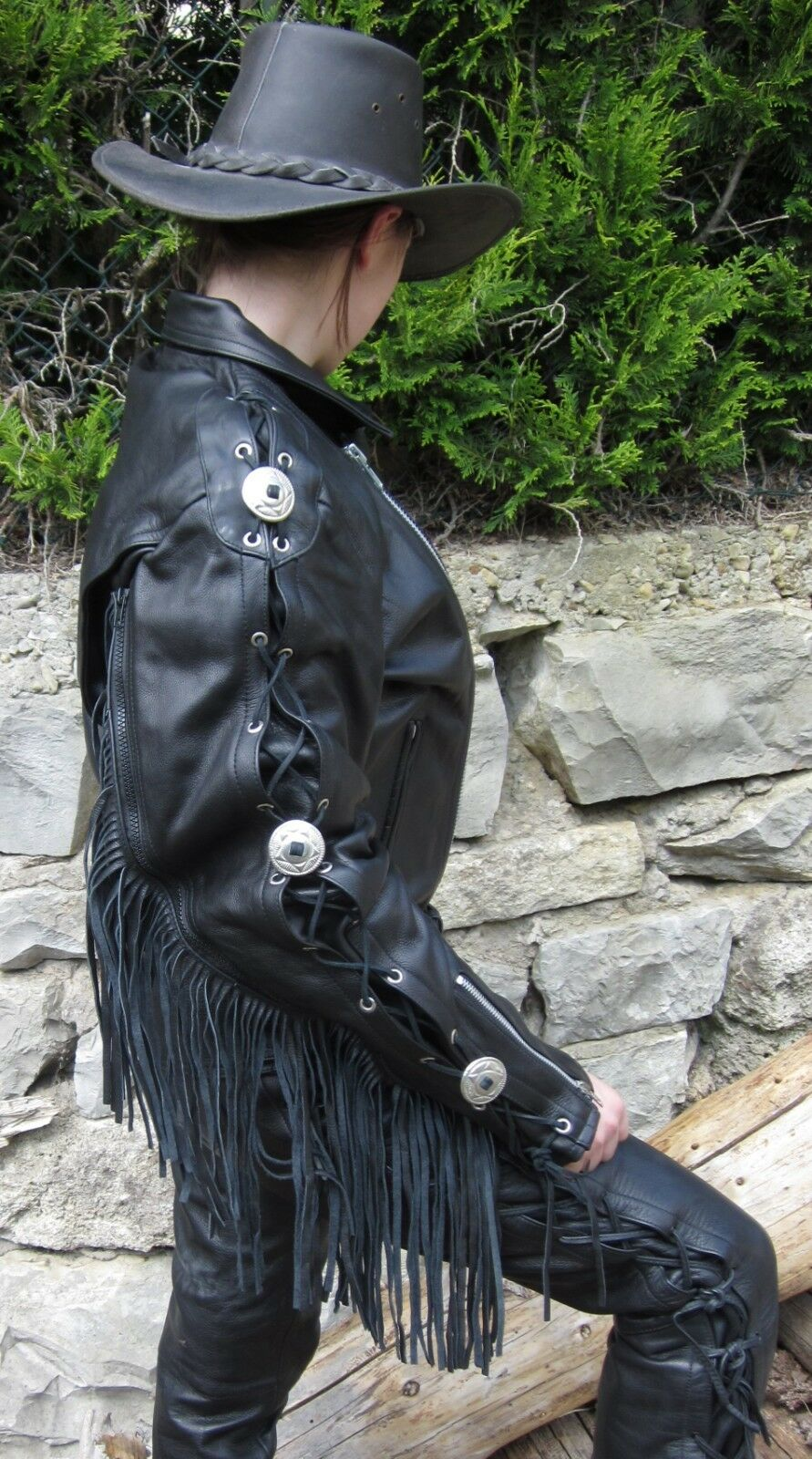 Easy Rider escorpión//Gensler talla 56 Chaqueta de cuero motocicleta chaqueta flecos chaqueta Highway