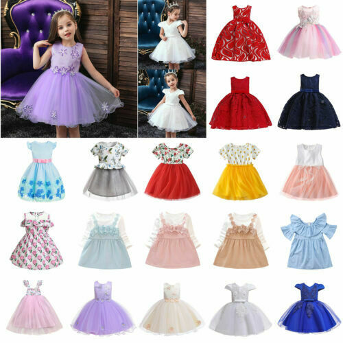 UK Kids Baby Flower Girl Dress Lace Tulle Party Gown Bridesmaid Dresses Sundress