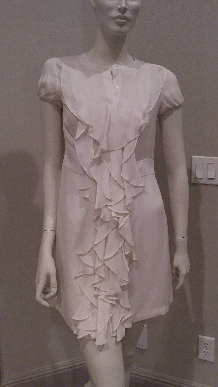 BCBG maxazria 100% silk Weiß ruffle front button down dress sz XS  NWT