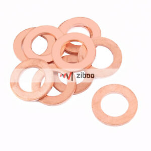 10 Pcs 24 mm x 14 mm x 2mm Flat Ring Copper Crush Washer Sealing Gasket Fastener