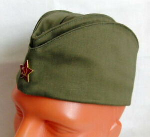 fd6e48021 Details about WW2 USSR Soviet Russian Army Pilotka Garrison Cap Field Hat  Red Star Badge Olive