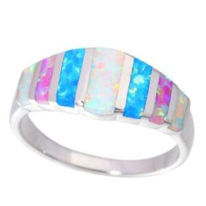 Blue-White-Pink-Fire-Opal-925-Sterling-Silver-Women-Jewelry-Ring-Size-7-8-SR007