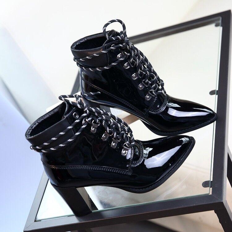 S51 Mujer Botas Hasta el Tobillo Zapatos Tacón Alto Puntera Vintage Inspirado Diseñador